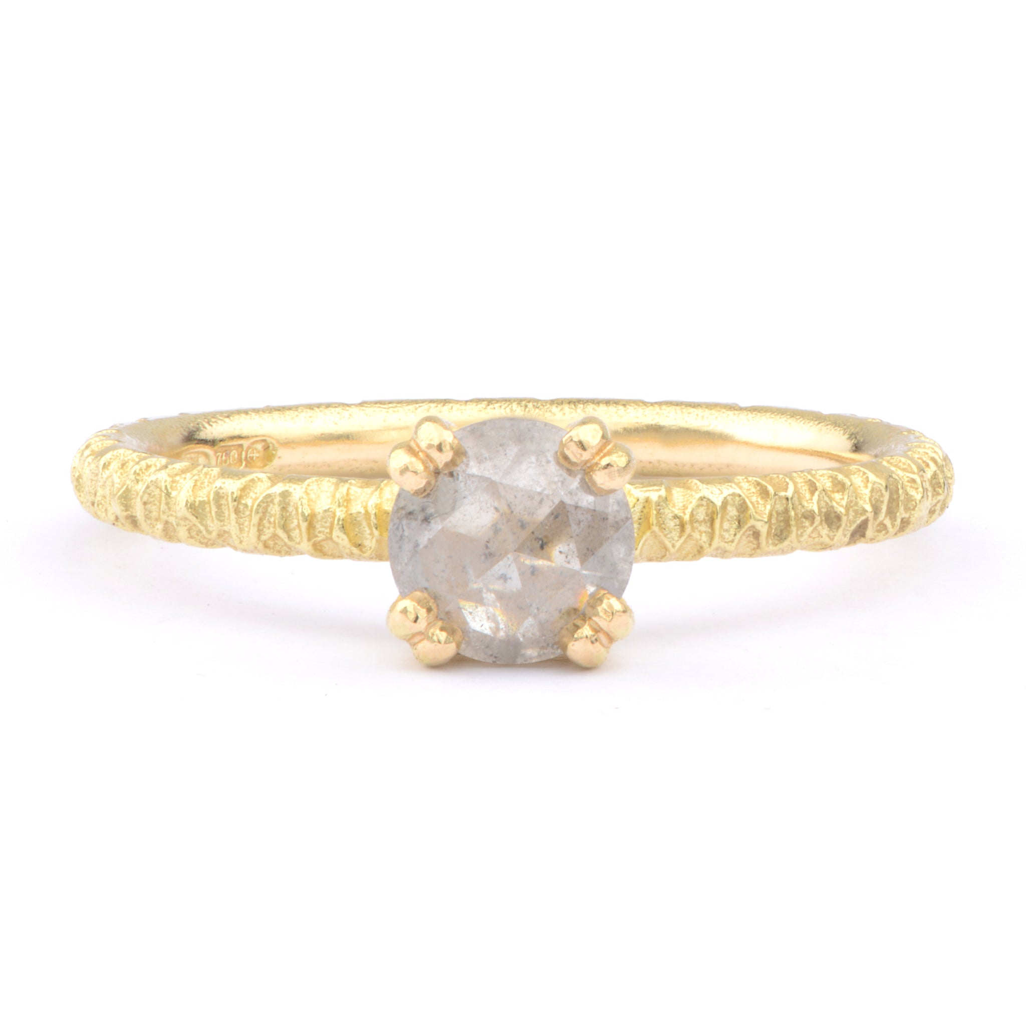 6mm Salt and Pepper Diamond and 18ct Yellow Gold Solitaire - James Newman Jewellery