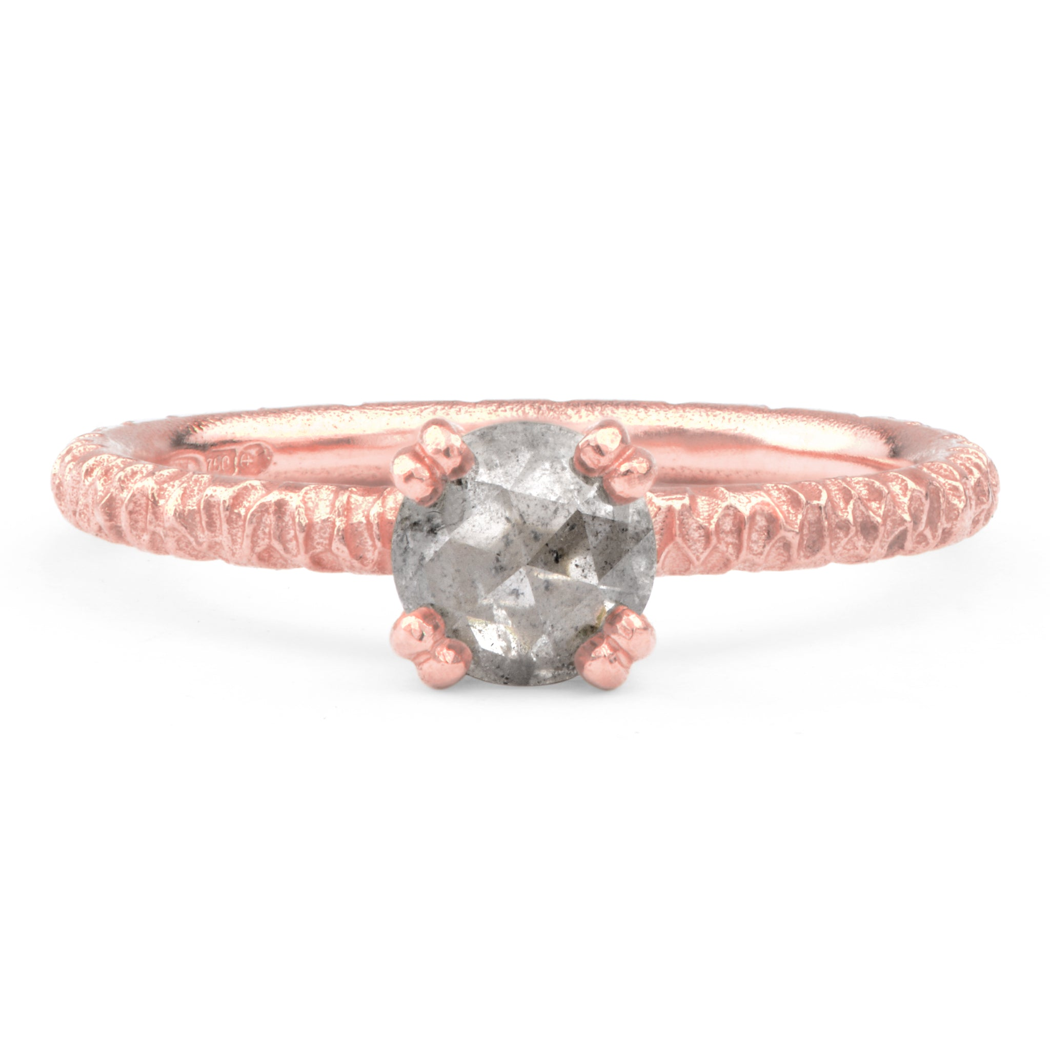 Salt and Pepper Diamond and 9ct Red Gold Engagement Ring - James Newman Jewellery