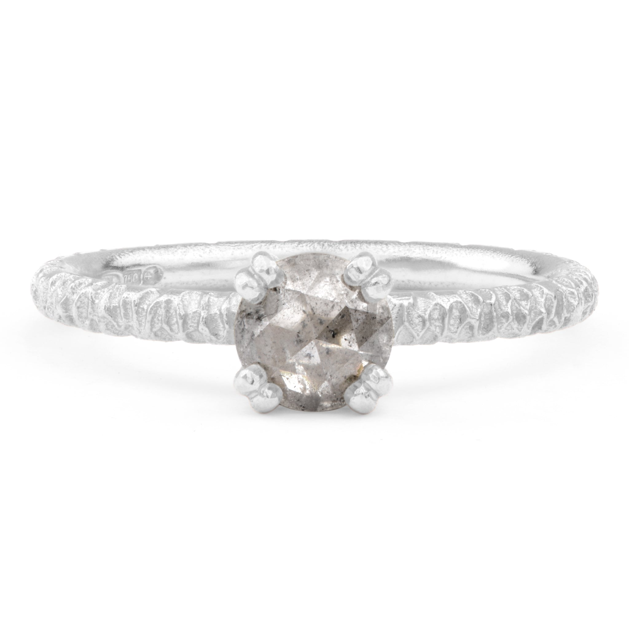 Salt and Pepper Diamond and Platinum Engagement Ring - James Newman Jewellery