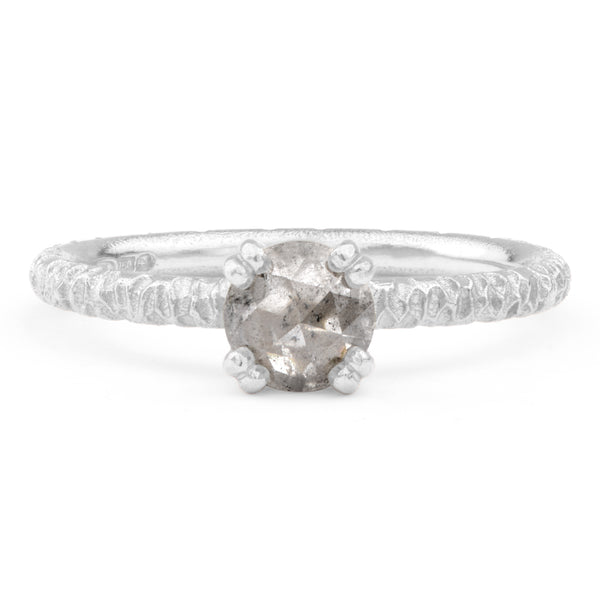 6mm Salt and Pepper Diamond and Platinum Solitaire - James Newman Jewellery