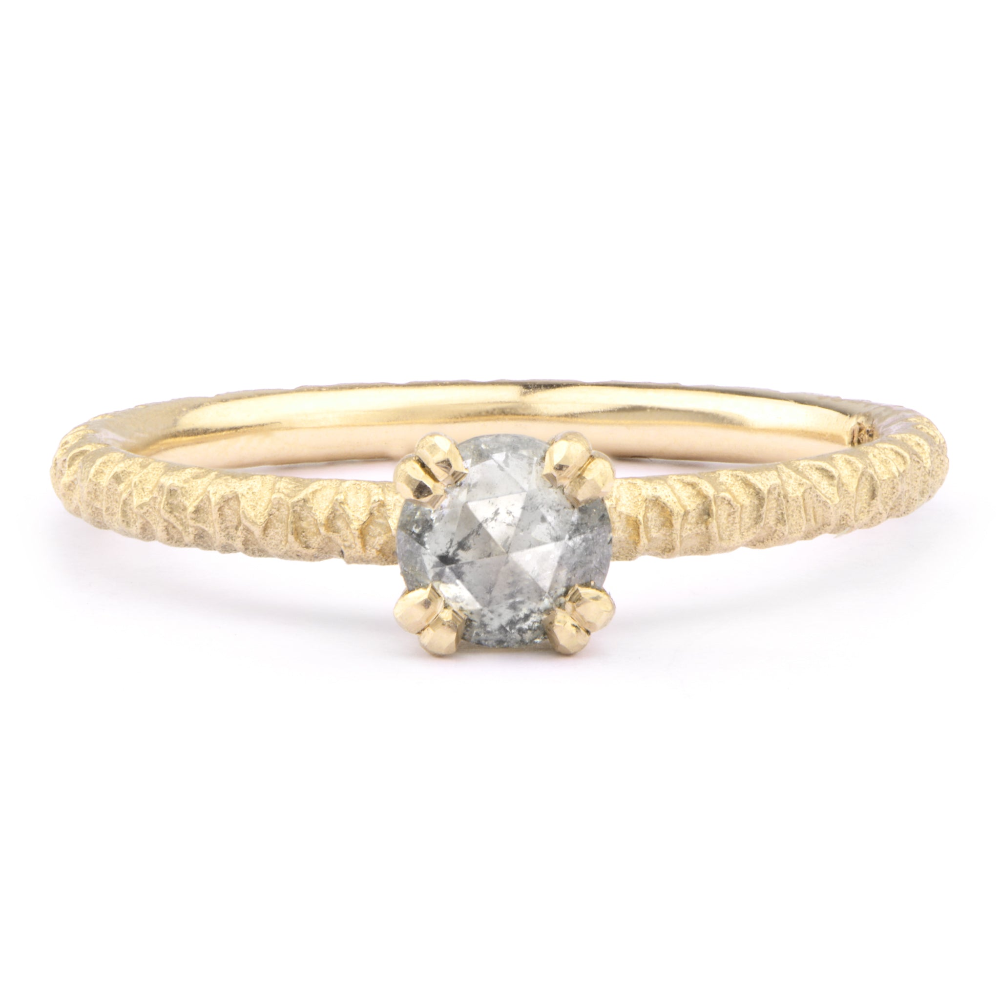 5mm Salt and Pepper Diamond and 18ct Yellow Gold Solitaire - James Newman Jewellery
