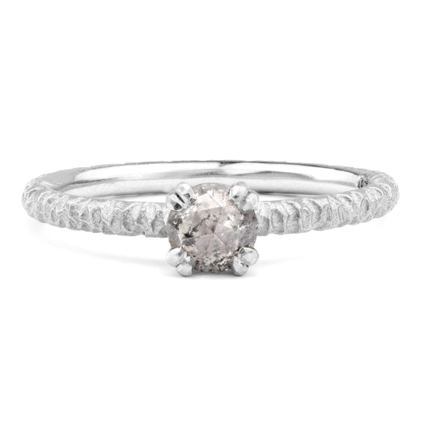 5mm Salt and Pepper Diamond and Platinum Solitaire - James Newman Jewellery