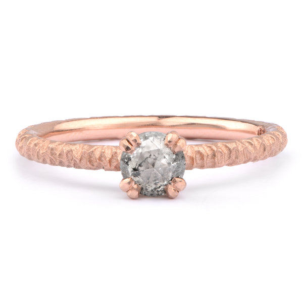 5mm Salt and Pepper Diamond and 9ct Red Gold Solitaire - James Newman Jewellery