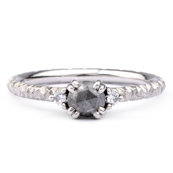 5mm Salt and Pepper, White Diamond & Platinum Trilogy Ring - James Newman Jewellery
