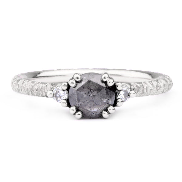6mm Salt and Pepper, White Diamond & Platinum Trilogy Ring - James Newman Jewellery