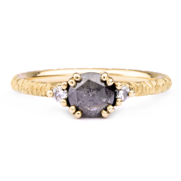 6mm Salt and Pepper, White Diamond & 18ct Yellow Gold Trilogy Ring - James Newman Jewellery