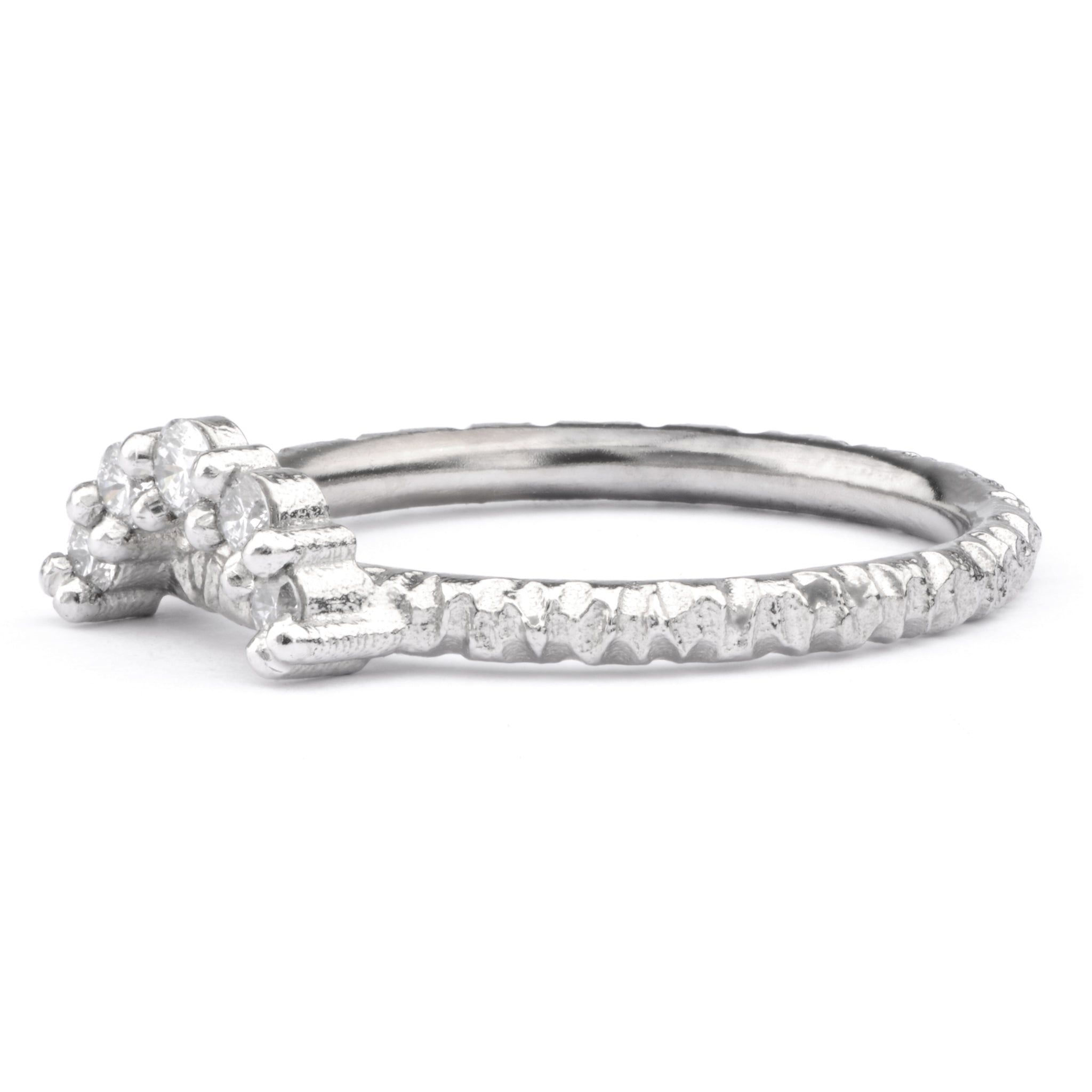 Large White Diamond and Platinum Tiara Ring - James Newman Jewellery