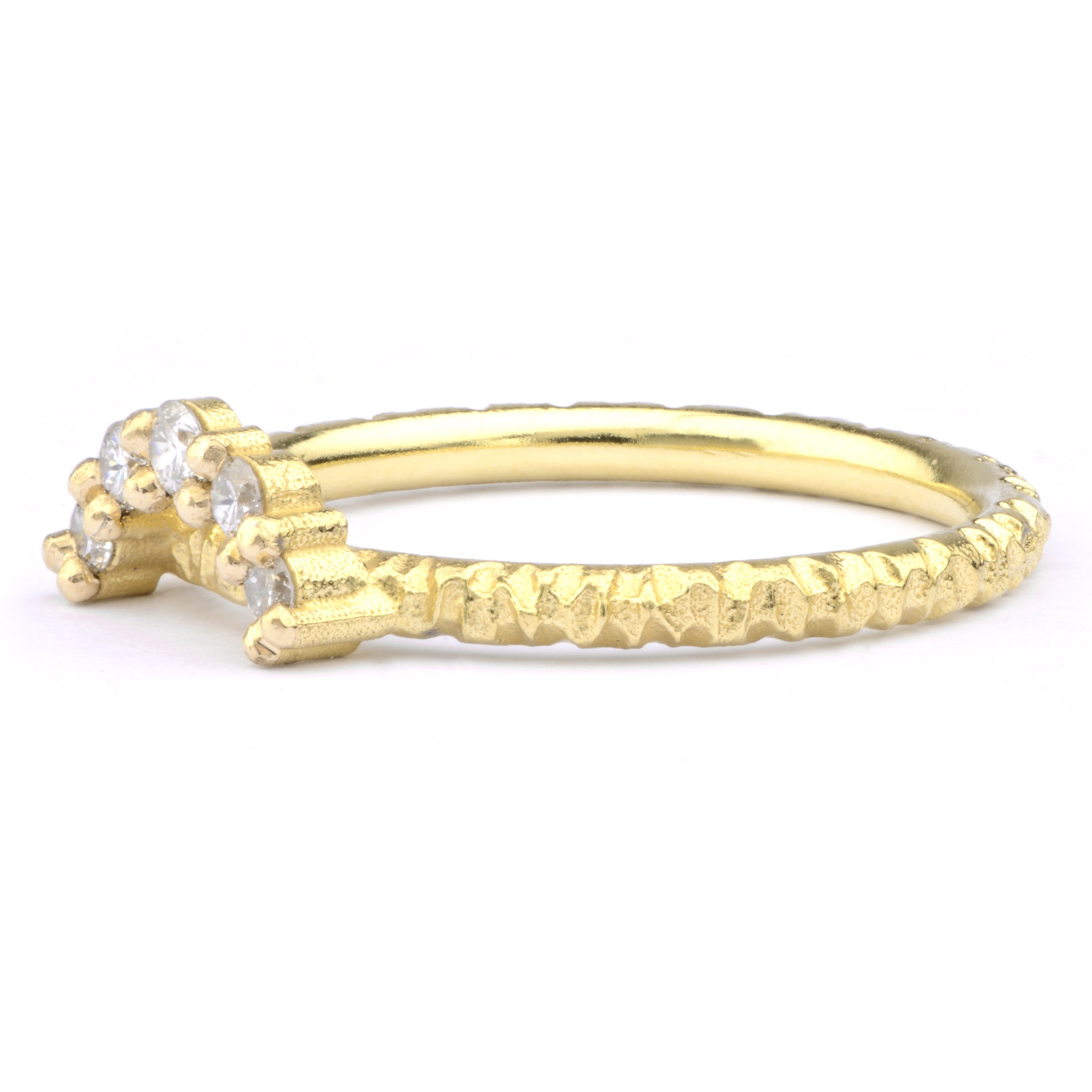 Large White Diamond and 18ct Yellow Gold Tiara Ring - James Newman Jewellery