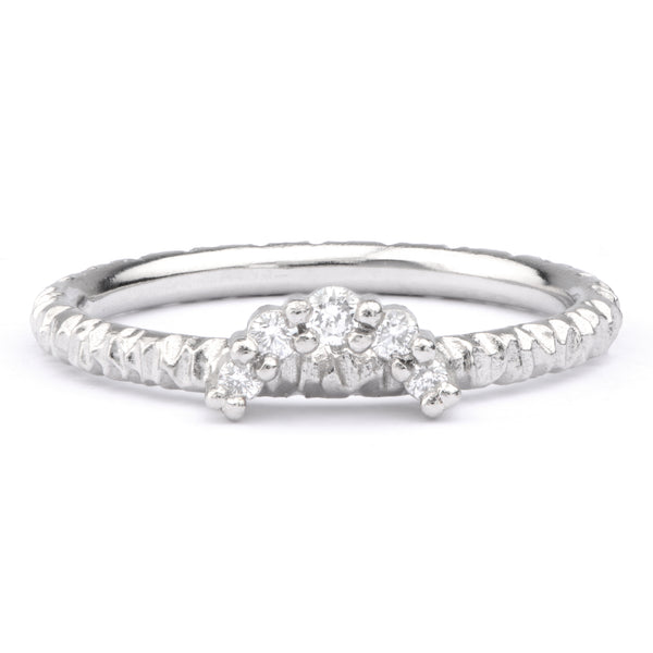 Medium White Diamond and Platinum Tiara Ring - James Newman Jewellery