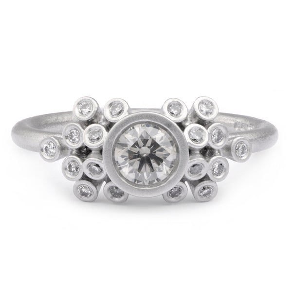 50pt Salt and Pepper Diamond Cluster Ring in Platinum - James Newman Jewellery
