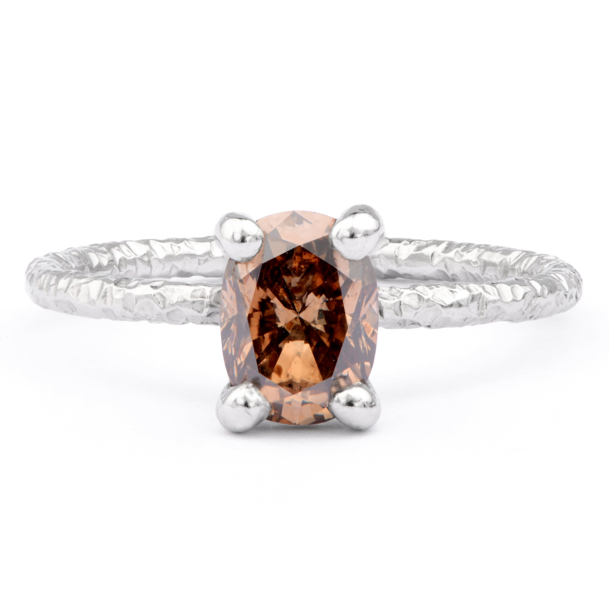 1.2ct Cognac Diamond and Platinum Ring - James Newman Jewellery