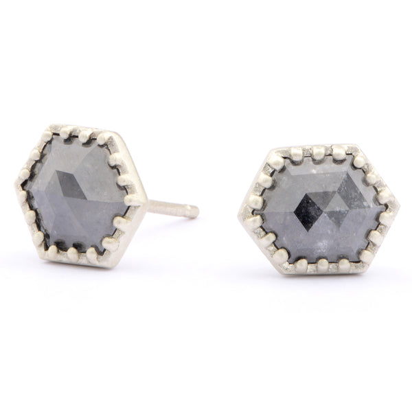 9ct White Shield Studs - James Newman Jewellery