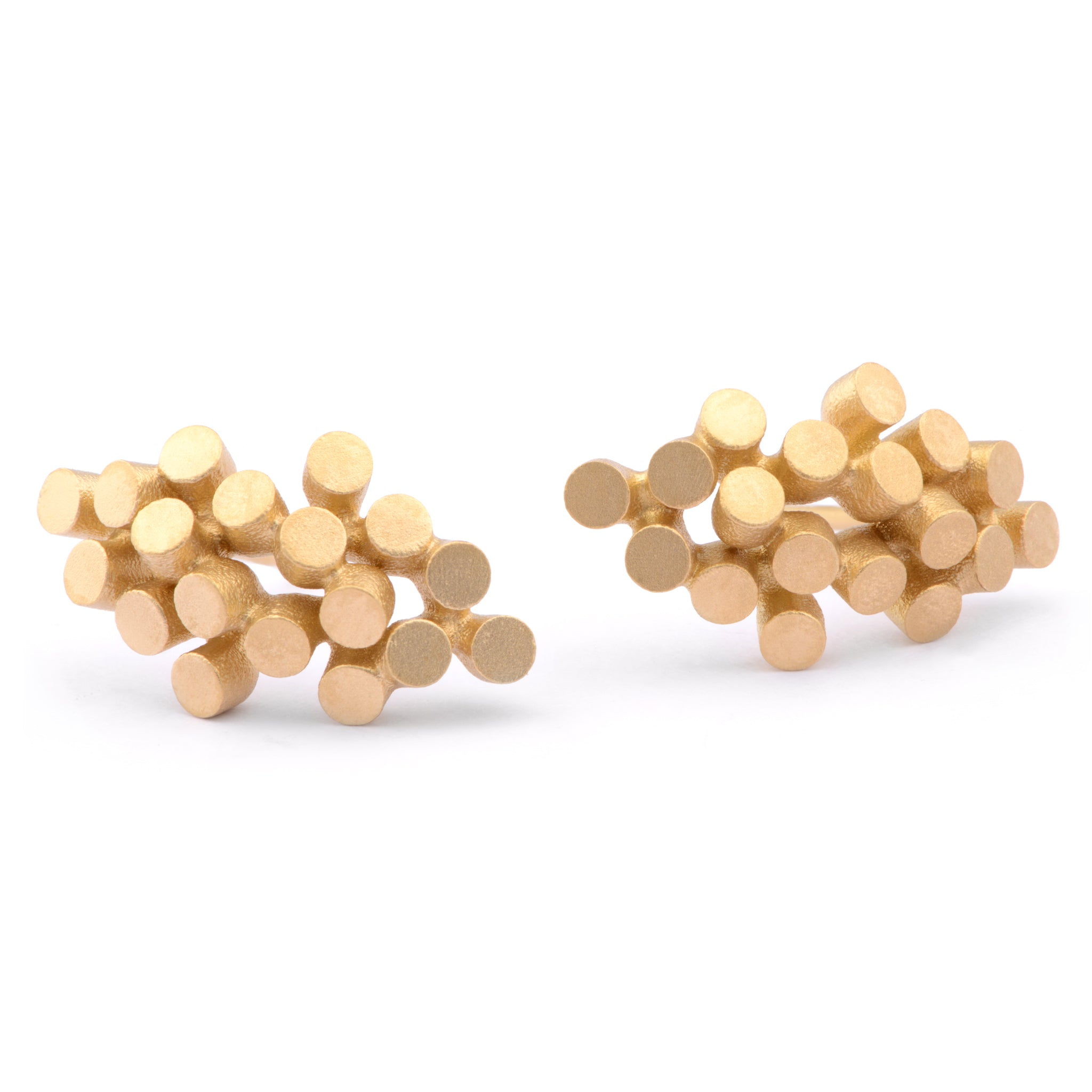 Organic 18ct Yellow Gold Cluster Studs - James Newman Jewellery