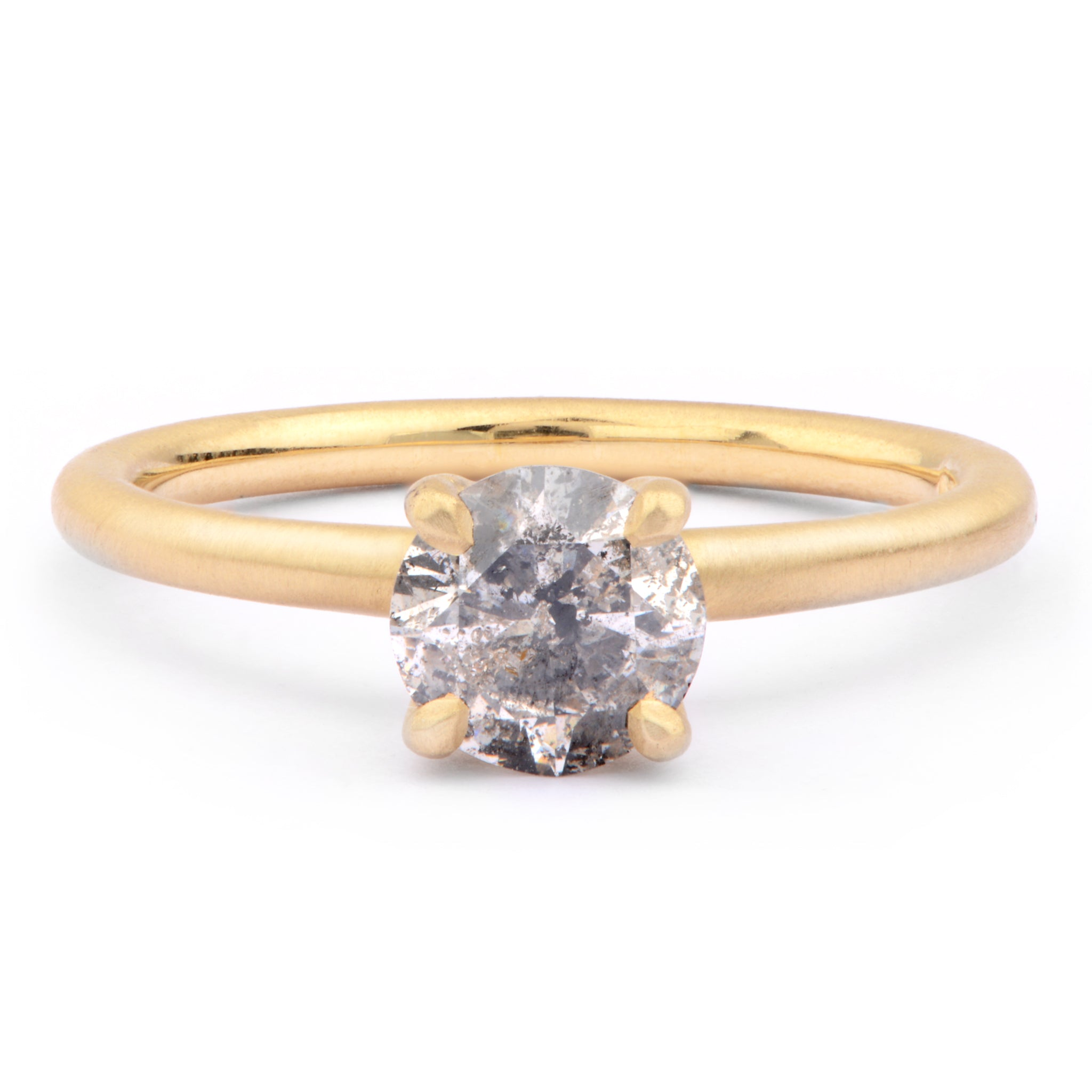 1ct Salt and Pepper Diamond and 18ct Yellow Gold Engagement Ring - James Newman Jewellery