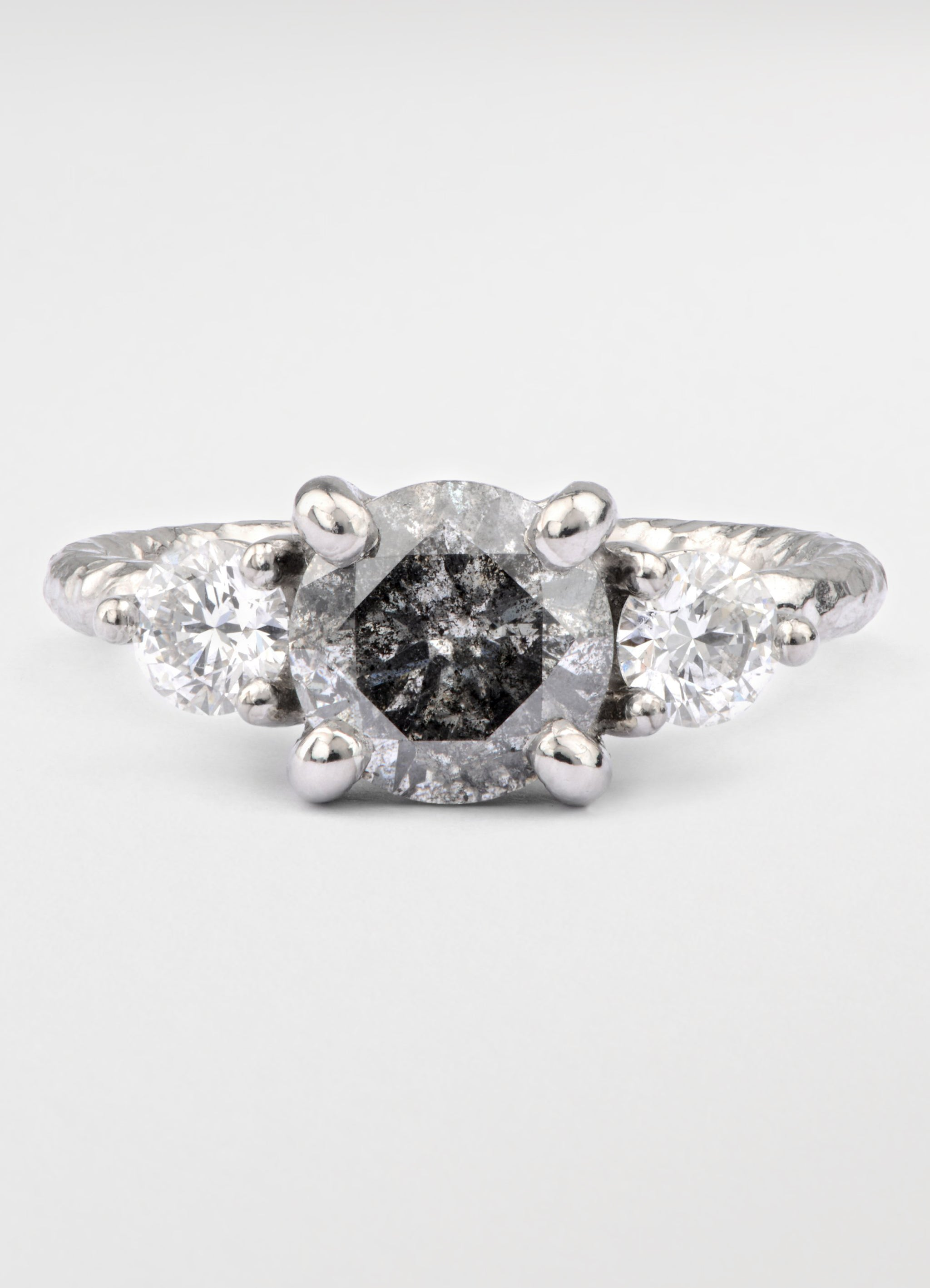 2ct Salt And Pepper Diamond And Platinum Ring