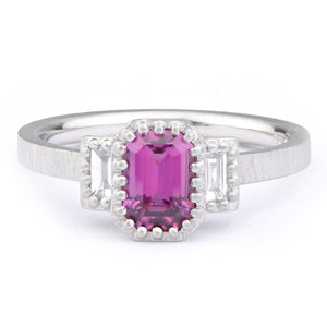 Deep Pink Sapphire and Diamond Ring - James Newman Jewellery