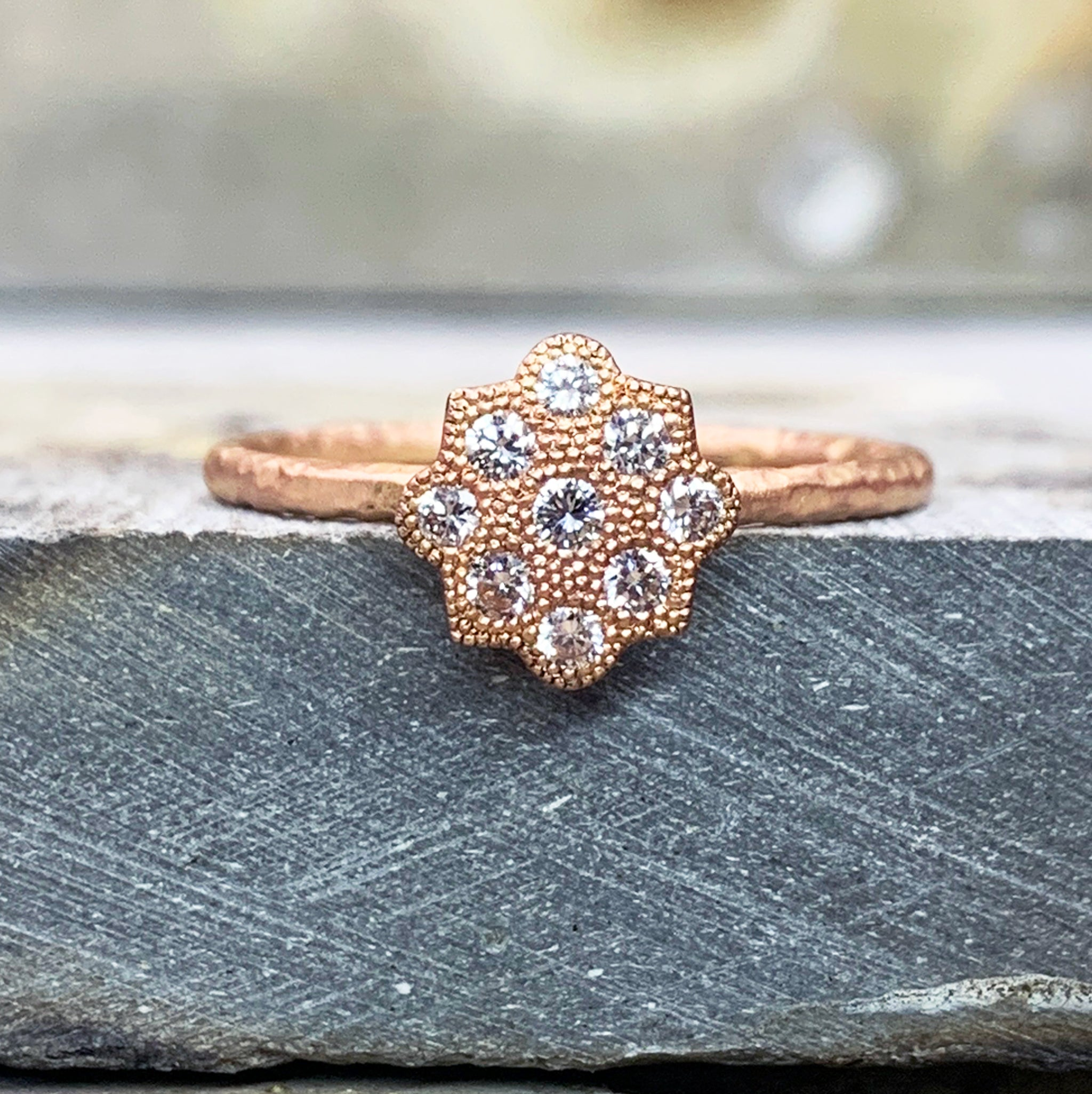 Unique Fiori 9ct Red Gold Diamond Shield Cluster - James Newman Jewellery