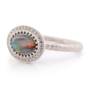 Boulder Opal and Palladium Ring - James Newman Jewellery
