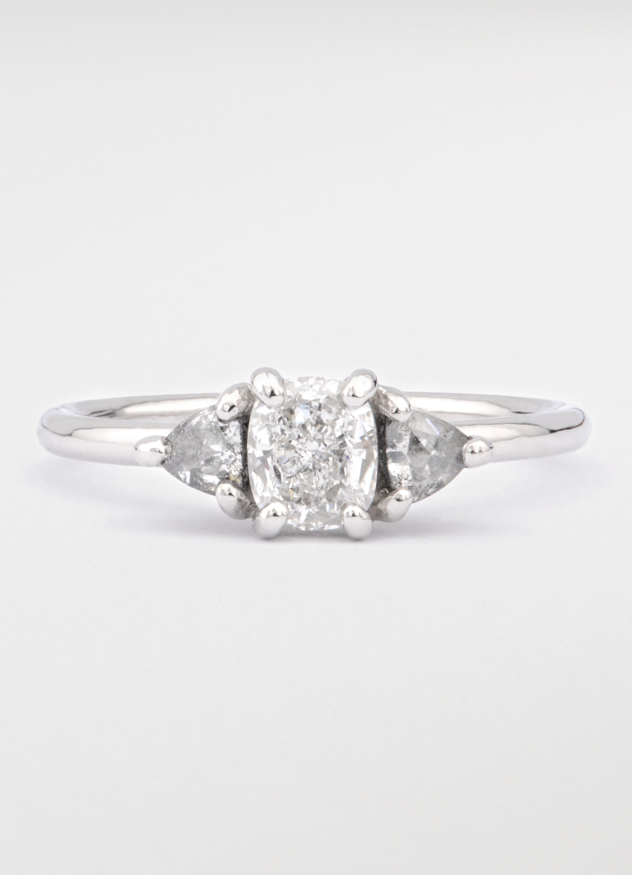 Cushion Trilogy Platinum Ring