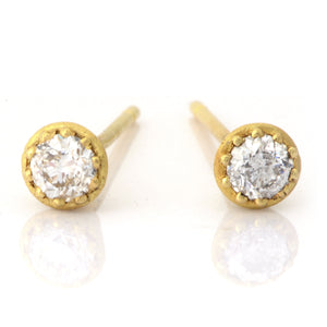 Fiori Yellow Gold Single Stone Diamond Studs - James Newman Jewellery