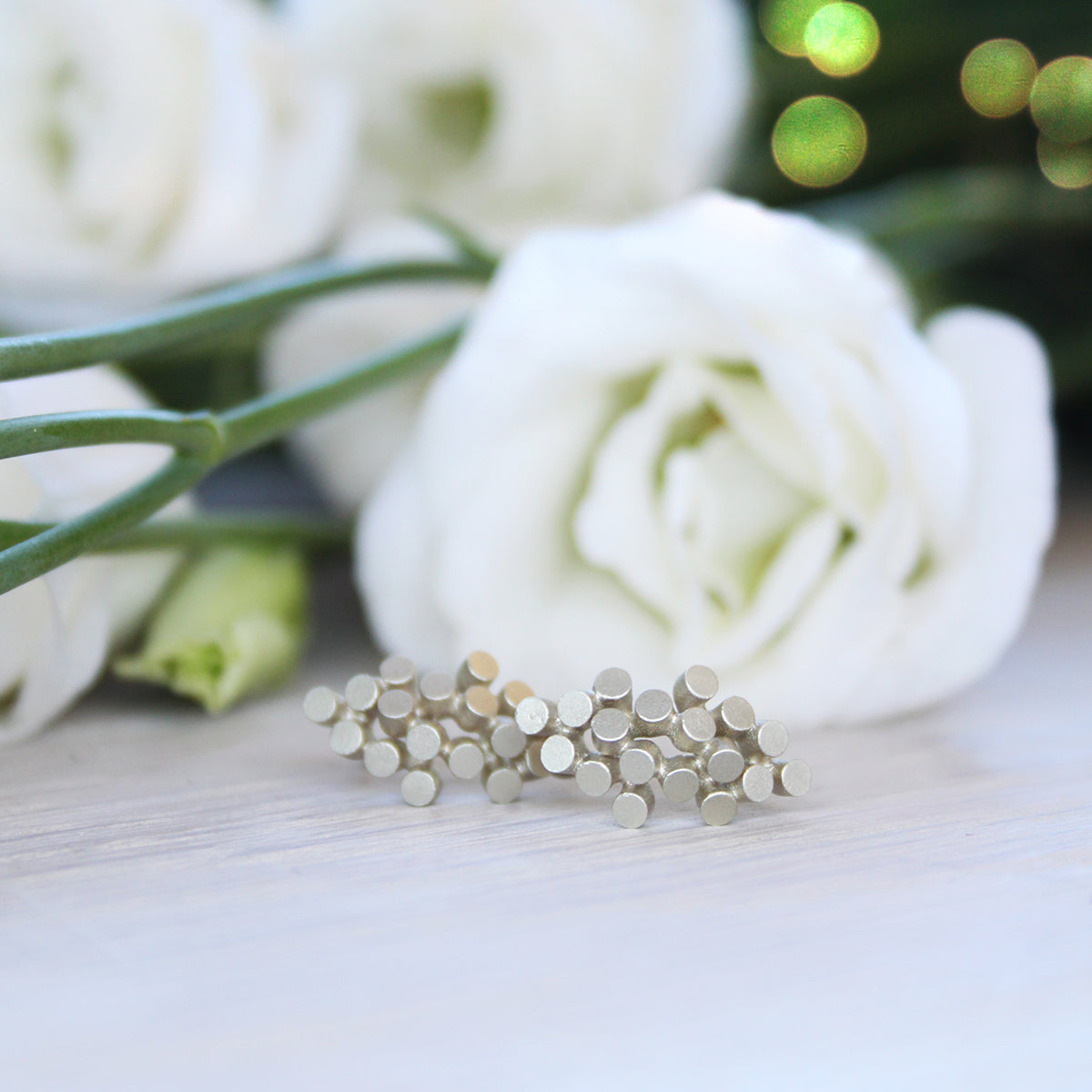 Organic 9ct White Gold Cluster Studs - James Newman Jewellery