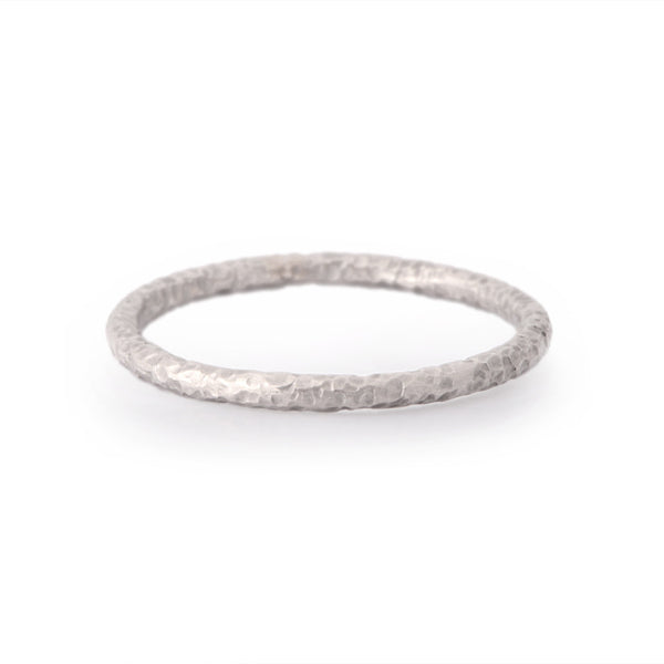 Palladium or Platinum Narrow Hand Forged Band Ring - James Newman Jewellery