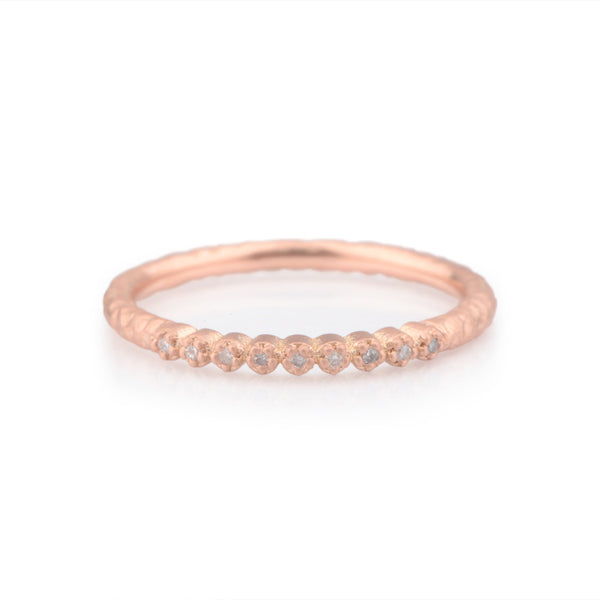 Fiori Red Gold Narrow Hand Forged Diamond Eternity Ring - James Newman Jewellery