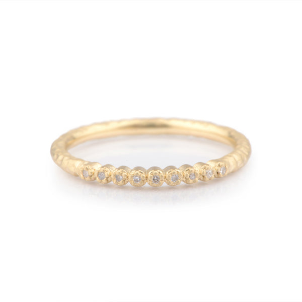 Fiori Yellow Gold Narrow Hand Forged Eternity Ring - James Newman Jewellery