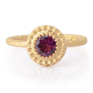 Fiori Beaded 50pt Rhodolite Garnet Ring - James Newman Jewellery