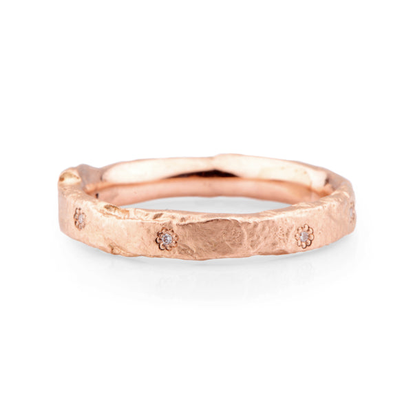 Narrow 9ct Red Gold and Diamond Flux Ring