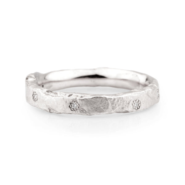 Narrow Platinum and Diamond Flux Ring