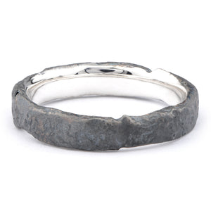 Medium Silver Oxidised Flux Ring - James Newman Jewellery