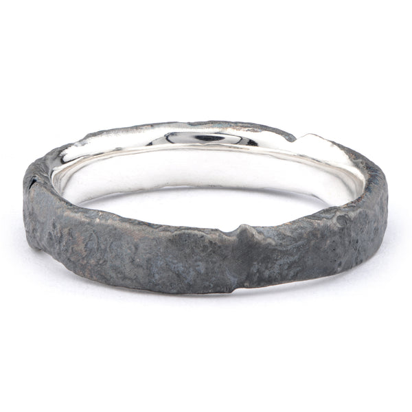 Medium Silver Oxidised Flux Ring