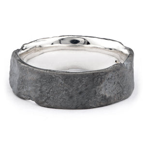 Wide Silver Oxidised Flux ring