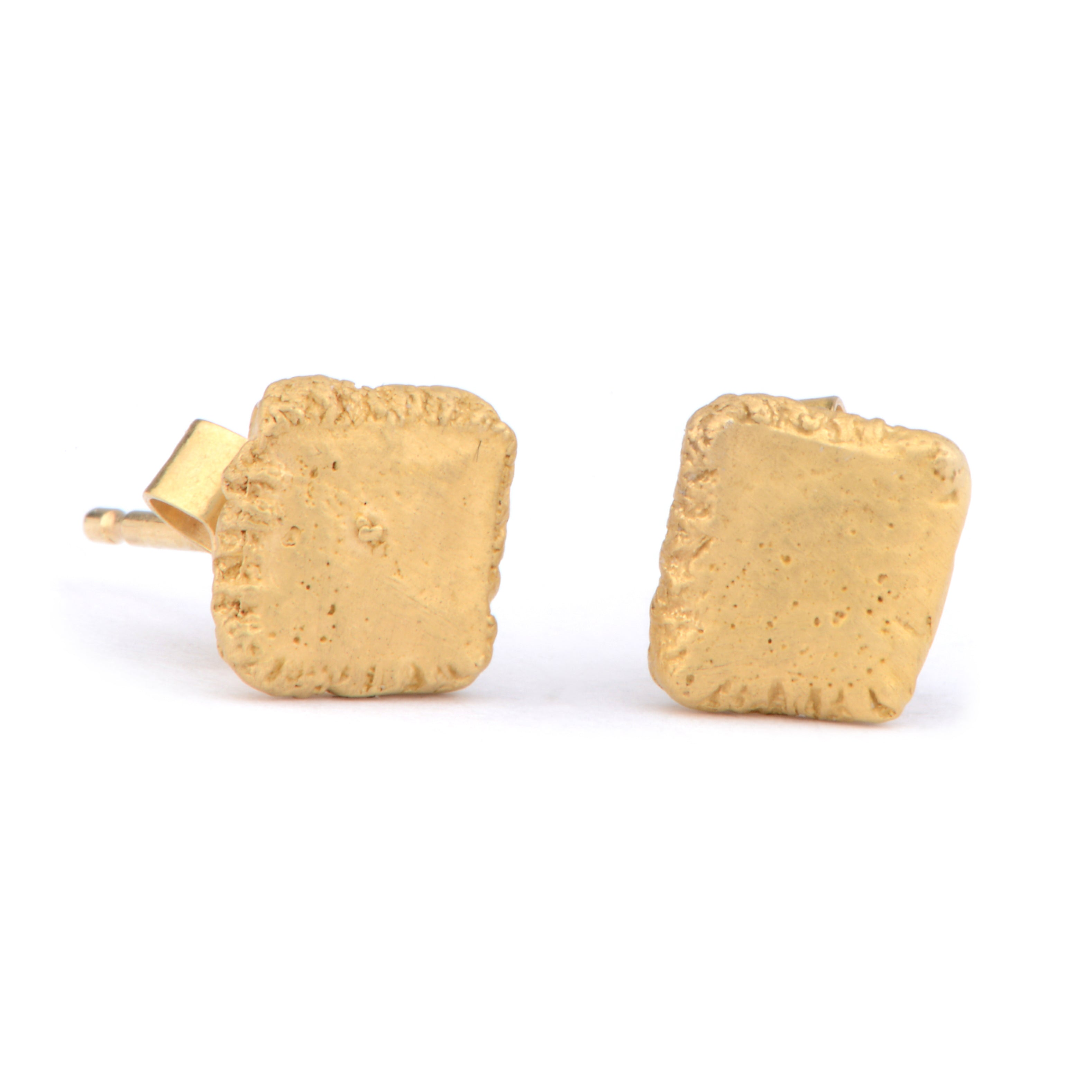 Flux Square Silver Yellow Gold Plated Studs - James Newman Jewellery
