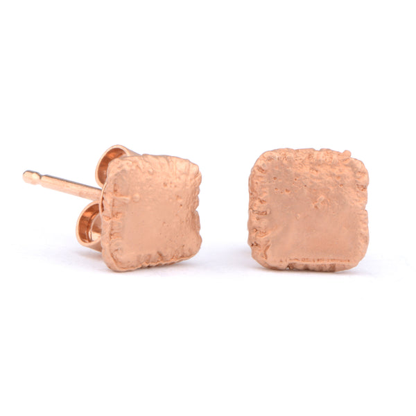 Flux Square Silver Red Gold Plated Studs - James Newman Jewellery