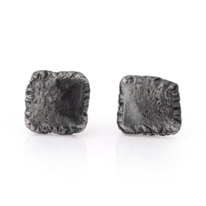 Flux Square Silver Oxidised Studs - James Newman Jewellery