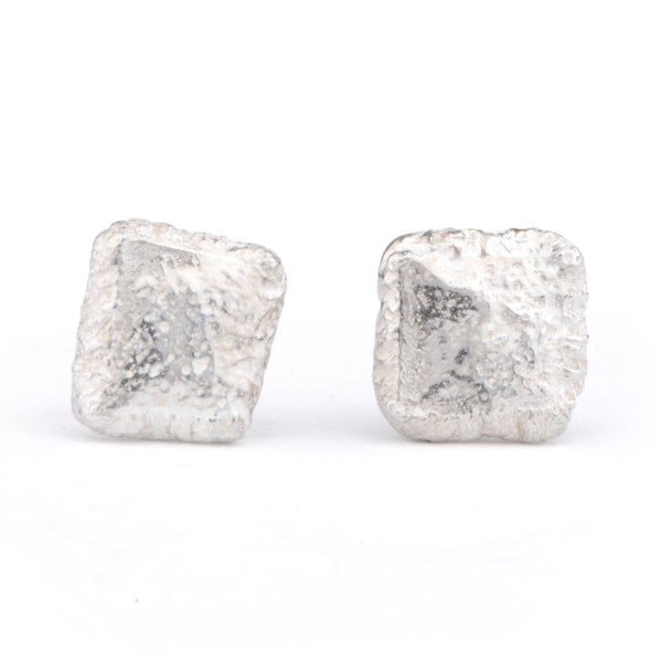 Flux Square Silver Studs - James Newman Jewellery