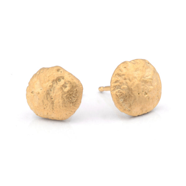 Flux Round Silver Yellow Gold Plated Studs - James Newman Jewellery