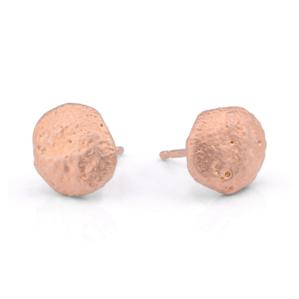 Flux Round Silver Red Gold Plated Studs - James Newman Jewellery
