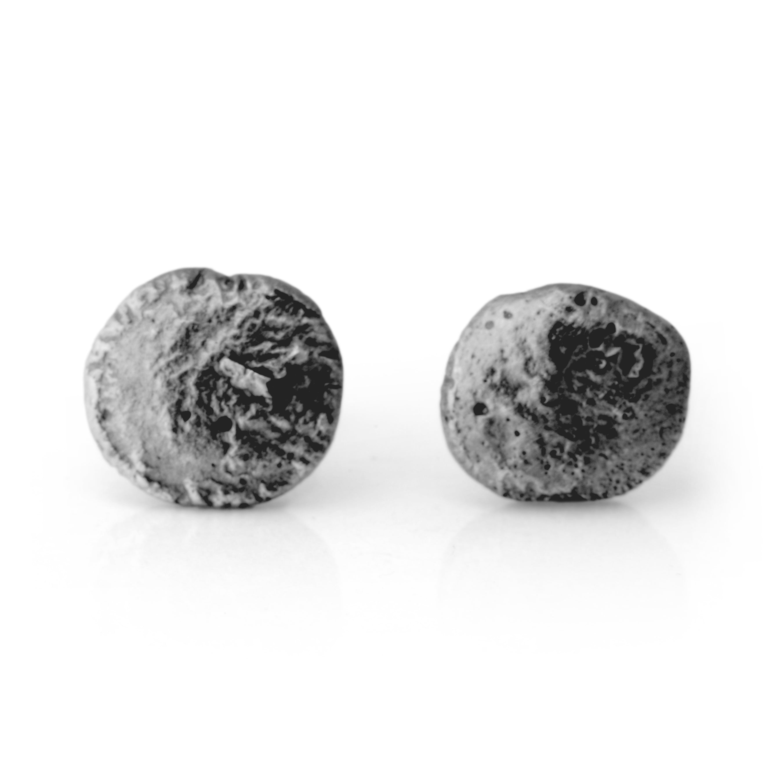 Flux Round Silver Oxidised Studs - James Newman Jewellery