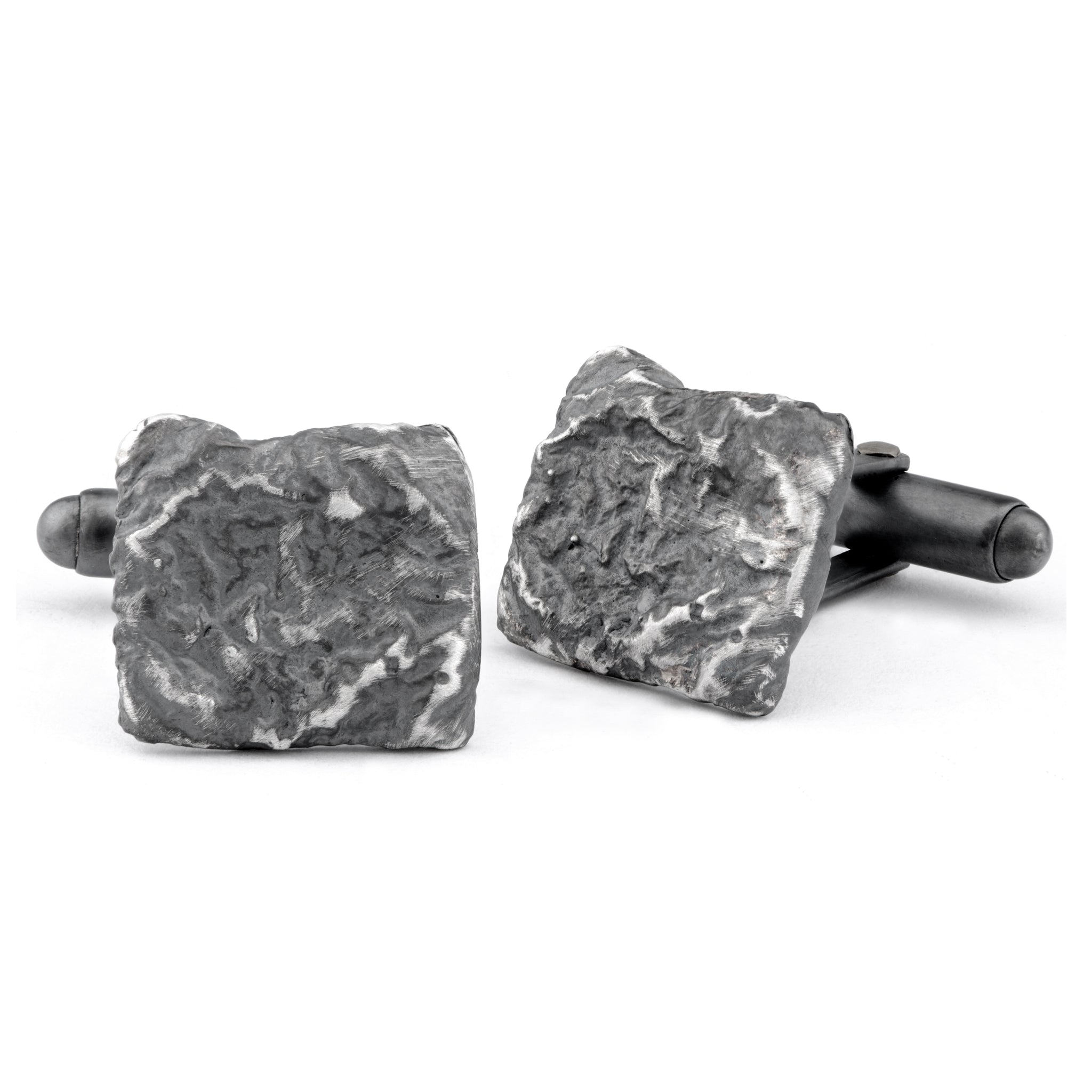 Flux Square Silver Oxidised Cufflinks - James Newman Jewellery