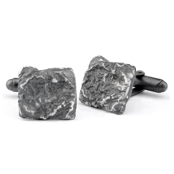 Flux Square Silver Oxidised Cufflinks