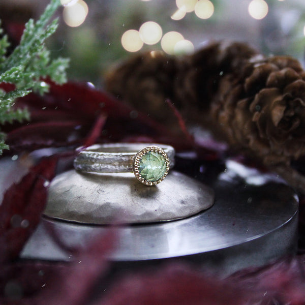 Rose Cut Apatite Gaia Ring Silver/9ct Yellow Gold - James Newman Jewellery