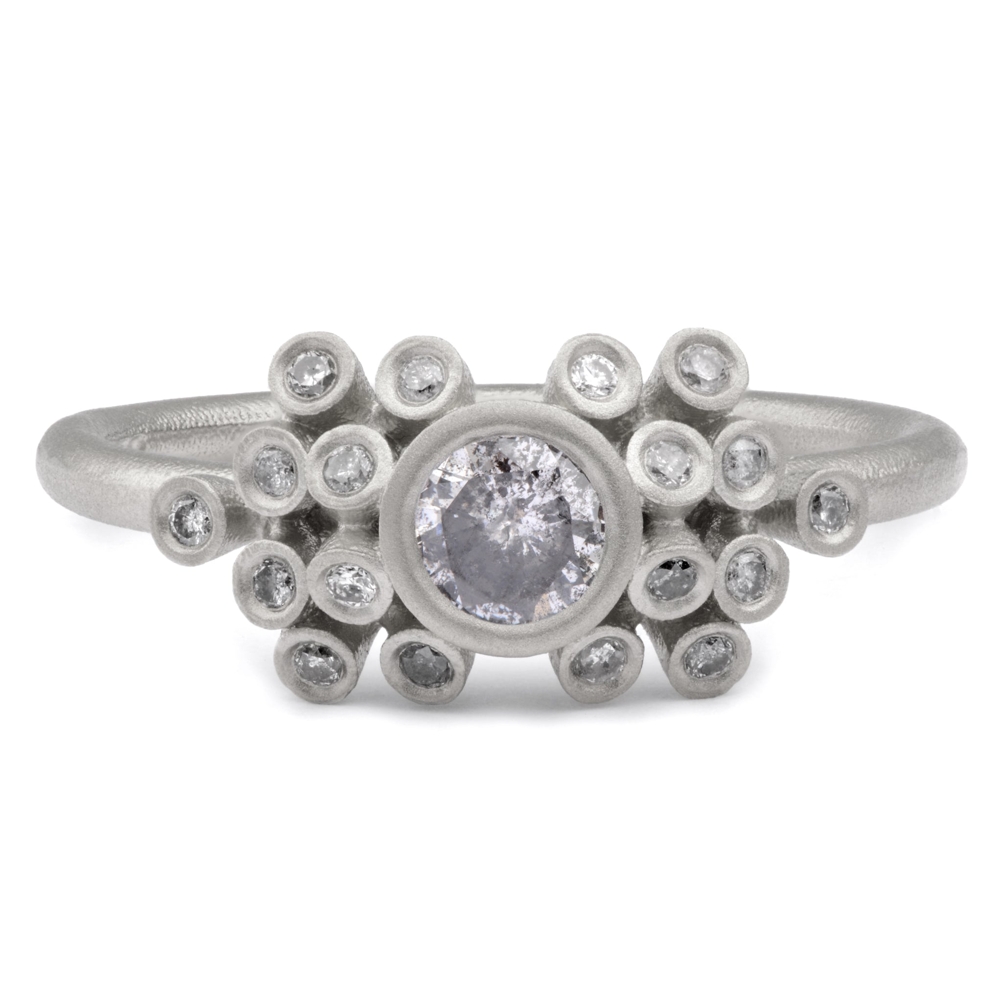 30pt Salt and Pepper Diamond Cluster Ring in Platinum - James Newman Jewellery