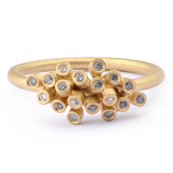 18pt Salt and Pepper Diamond Cluster Ring in 18ct Yellow Gold - James Newman Jewellery