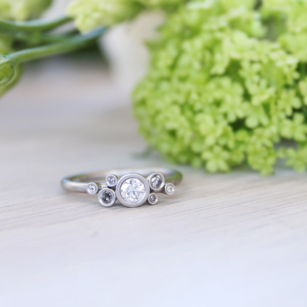 Irregular Salt and Pepper Diamond & Platinum Cluster Ring - James Newman Jewellery