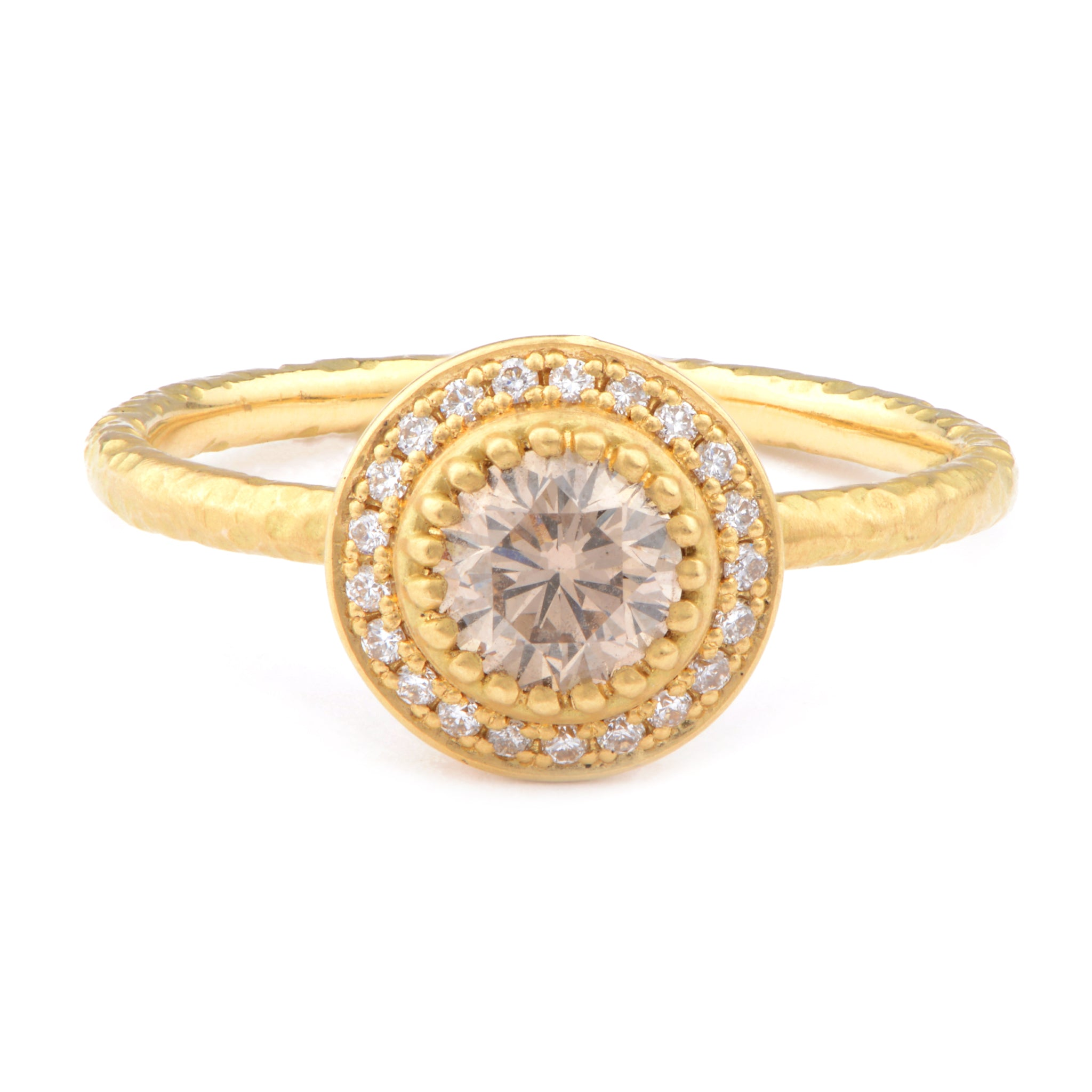 18ct Fiori Yellow Gold Solitaire Cluster Ring - James Newman Jewellery