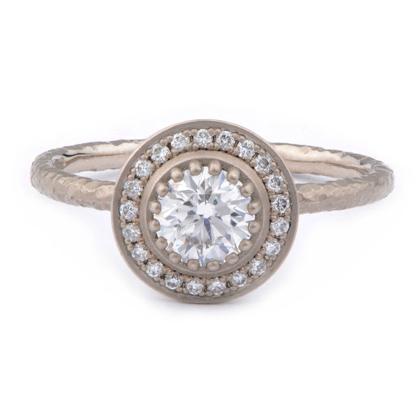 18ct White Gold Fiori Solitaire Cluster Ring - James Newman Jewellery