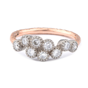 Fiori Palladium & 9ct Red Gold Cluster Diamond Ring - James Newman Jewellery